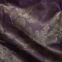 Paisley Jacquard Polyviscose Upholstery Dress Lining Fabric Gold On Purple 27