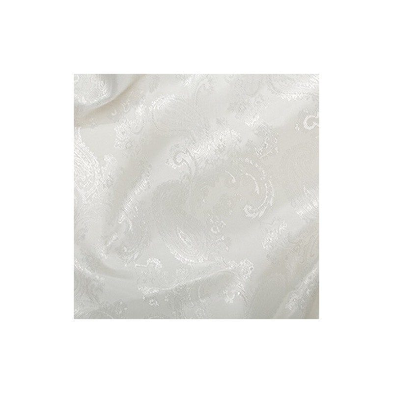 Paisley Jacquard Polyviscose Upholstery Dress Lining Fabric Silk White 31