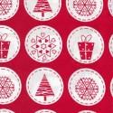 Christmas Festive Circle Badges Motifs 100% Cotton Poplin Fabric Freedom