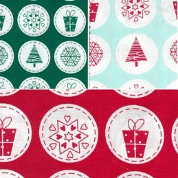 Christmas Festive Circle Badges Motifs 100% Cotton Poplin Fabric Freedom
