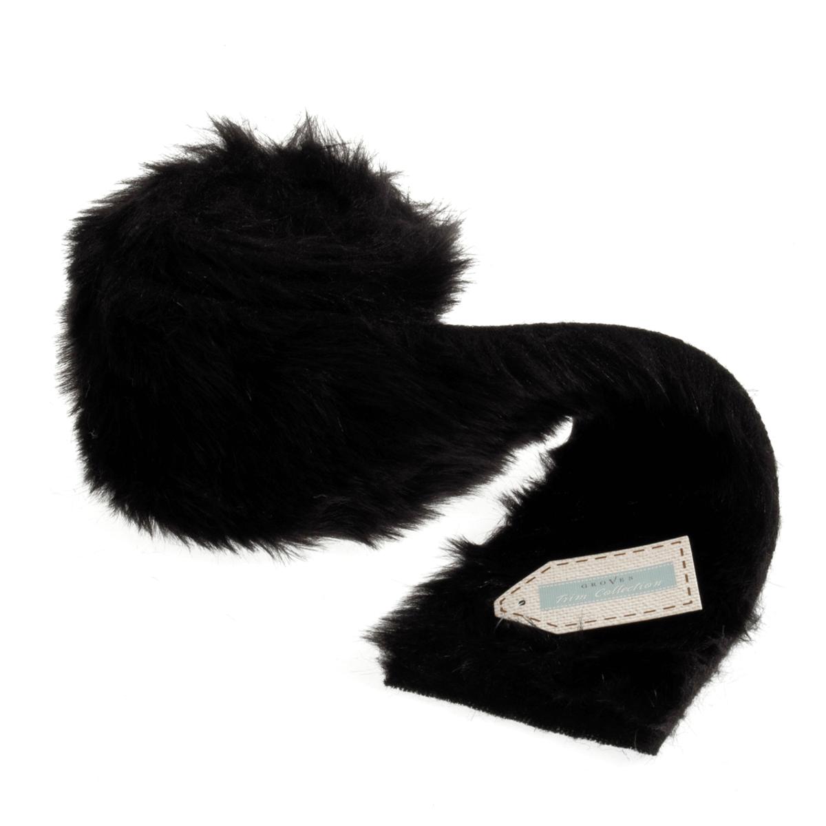 Faux Fur Trim 2m x 80mm Black Christmas Stocking Animal