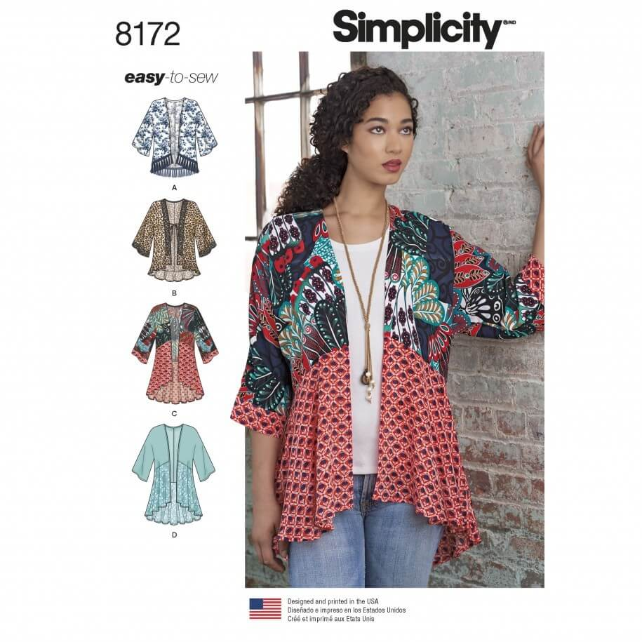 Misses' Easy to Sew Fashion Kimonos Simplicity Sewing Pattern 8172