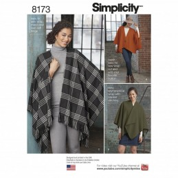 Misses' Easy to Sew Fleece Poncho Wraps Simplicity Sewing Pattern 8173