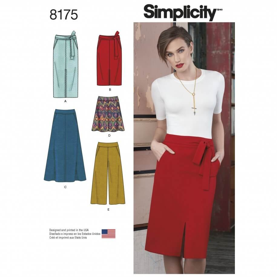 Misses' Skirts Cropped Trousers and Tie Belt Simplicity Sewing Pattern 8175