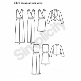 Misses' Jumpsuit, Dress and Jacket Simplicity Sewing Pattern 8178