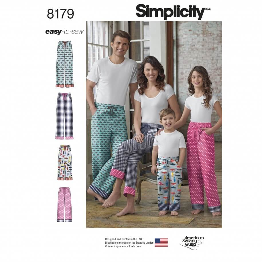 Child, Teen and Adult Lounge Trousers Simplicity Sewing Pattern 8179
