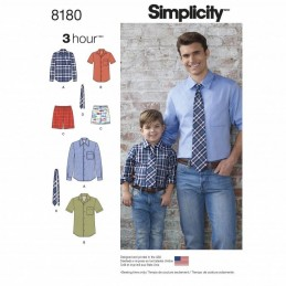 Easy Boys' and Men's Shirt, Boxer Shorts and Tie Simplicity Sewing Pattern 8180