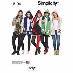 Simplicity Sewing Pattern 8194 Hooded Scarves with Appliques Geek Accessories