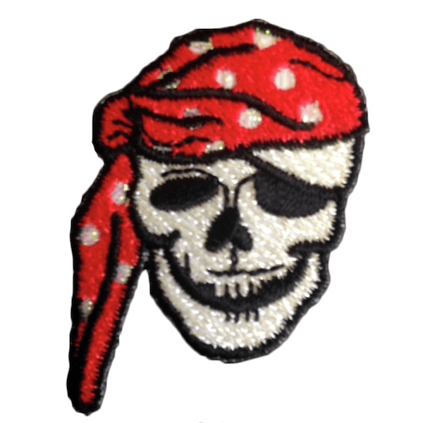 Pirate Skull Iron On Motif Stylish Patch Sew On