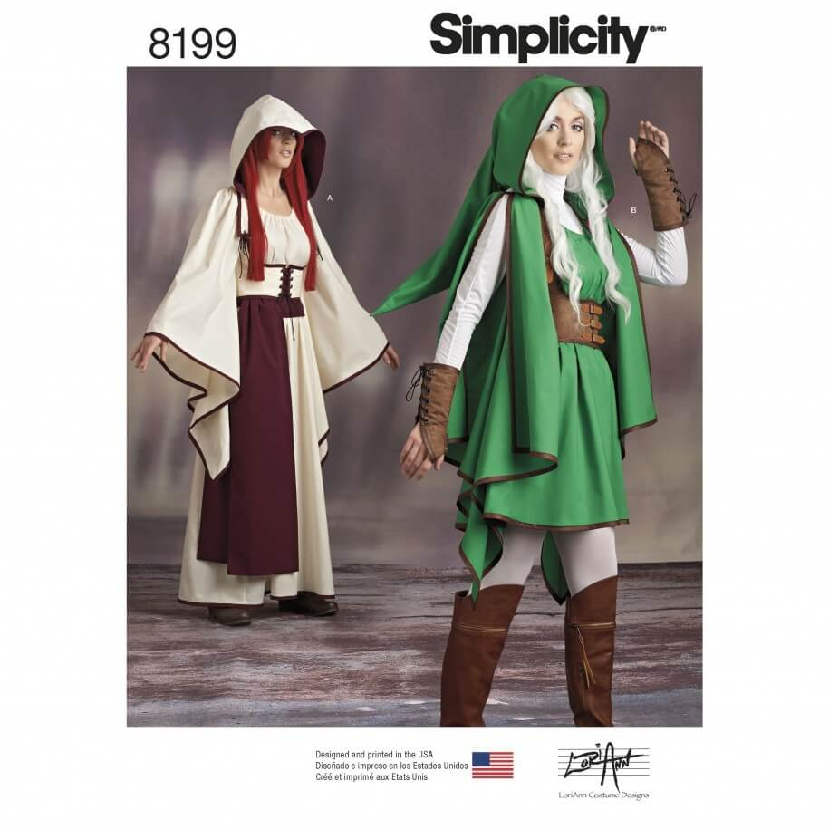 Misses' Gaming Warrior Costumes Simplicity Sewing Pattern 8199