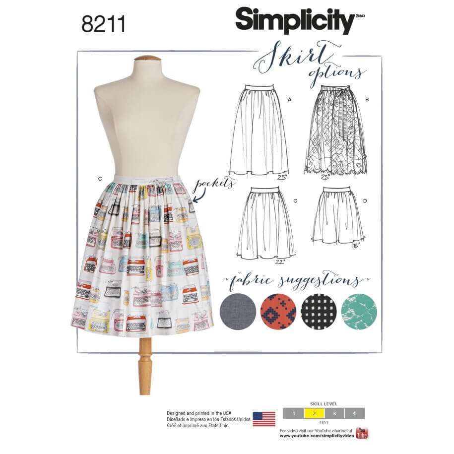 Misses' Dirndl Skirts in Three Lengths Simplicity Sewing Pattern 8211