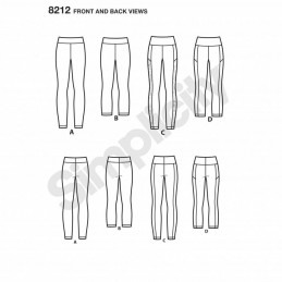 Misses' Knit Leggings Yoga Sports Simplicity Sewing Pattern 8212