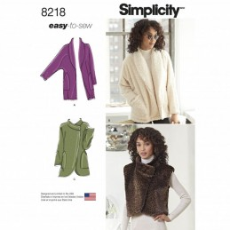 Misses' Easy-to-Sew Jackets Cardigans and Vest Simplicity Sewing Pattern 8218