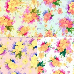 Summertime Floral Bright Flowers 100% Cotton Poplin Fabric Patchwork (FF)