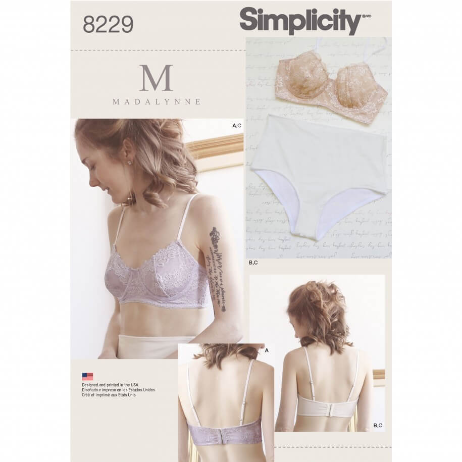 Misses' Underwire Bras and Panties Underwear Simplicity Sewing Pattern 8229