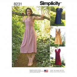 Misses Casual Summer Dresses Two Lengths Simplicity Sewing Pattern 8231