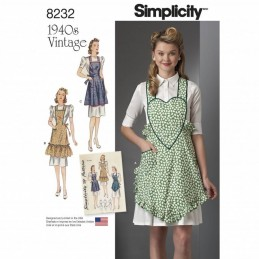 Misses 1940's Vintage Aprons Retro Simplicity Sewing Pattern 8232
