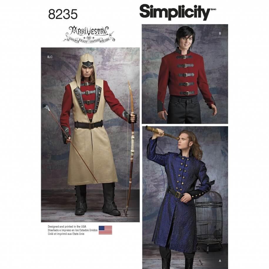 Mens Cosplay Costumes Fantasy Renaissance Simplicity Sewing Pattern 8235