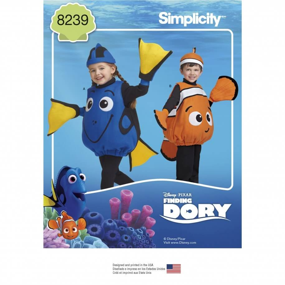 Disney Finding Dory Nemo Costumes for Toddlers Simplicity Sewing Pattern 8239