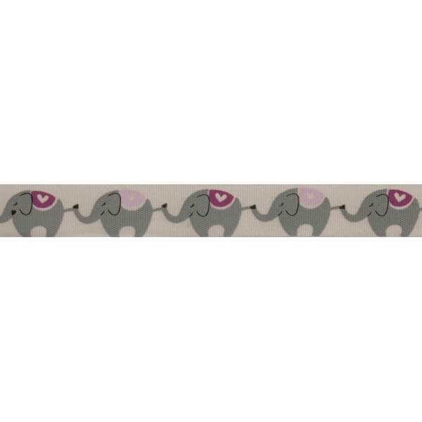 Bowtique Natural Elephants Pink Ribbon 15mm x 5m Reel