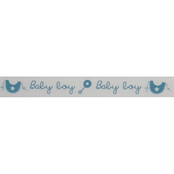 Bowtique Grosgrain Baby Boy Rattle & Bib Blue Ribbon 15mm x 5m Reel