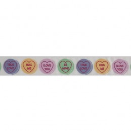 Bowtique Grosgrain Love Heart Sweets Ribbon 15mm x 5m Reel