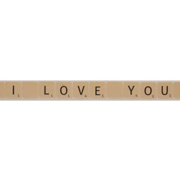 Bowtique Natural I Love You Scrabble Tiles Ribbon 15mm x 5m Reel