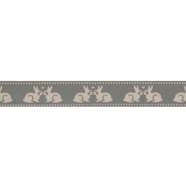 Bowtique Natural Kissing Bunnies Rabbits Ribbon 15mm x 5m Reel