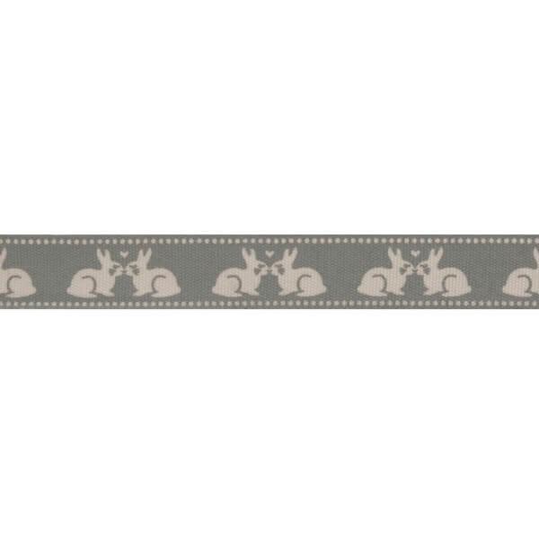 Bowtique Natural Kissing Bunnies Rabbits Ribbon 15mm x 5m Reel
