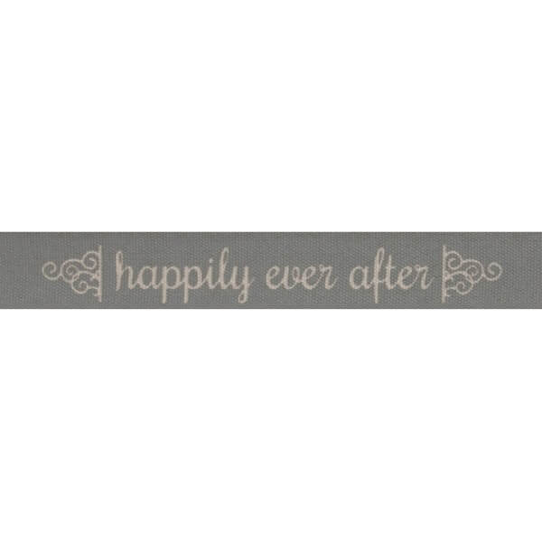 Bowtique Natural Happily Ever After Grey Ribbon 15mm x 5m Reel