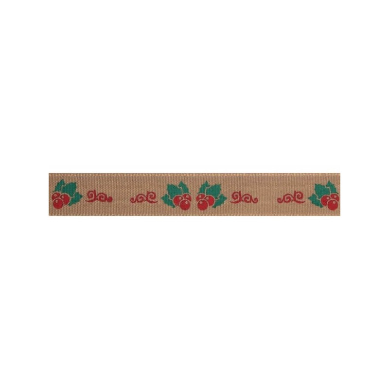 Natural Charms Holly And Berries Berisfords Ribbons 4m x 15mm