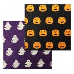 Halloween Ghosts And Pumpkins Felt Squares 15cm x 15cm Pack Of Two