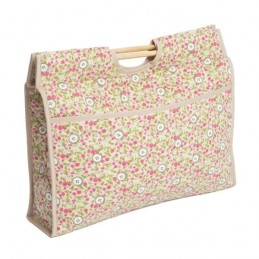 Pink Rose Floral Buttons Premium Sewing Knitting Craft Bag