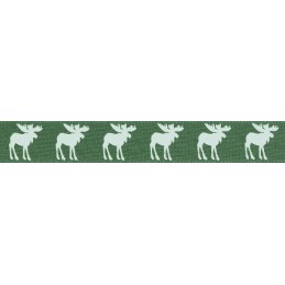 Natural Charms Traditional Christmas Moose Berisfords Ribbon 4m x 15mm