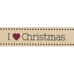 Natural Charms Traditional I Love Christmas Berisfords Ribbon 4m x 15mm