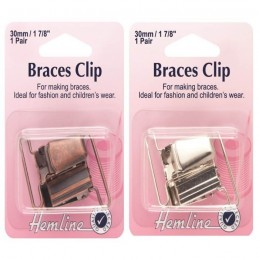 Hemline 30mm Brace Clips 1 Pair Silver Or Bronze Fashion Childrens Braces