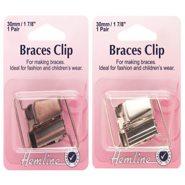 Bronze Hemline Brace Clips 1 Pair  in Silver Or Bronze 30mm