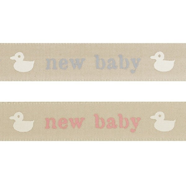 Natural Charms Baby Duck New Baby Berisfords Ribbon 4m x 15mm