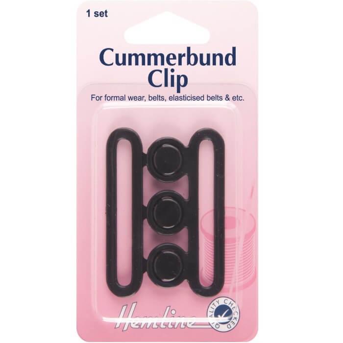 Hemline Cummerbund Clip Black