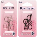 Hemline Bow Tie Fastening And Attachment 2 Sets In Black Or Silver