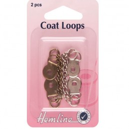 Hemline 2 x Metal Jacket / Coat Loops Bronze And Silver Chain Hanging