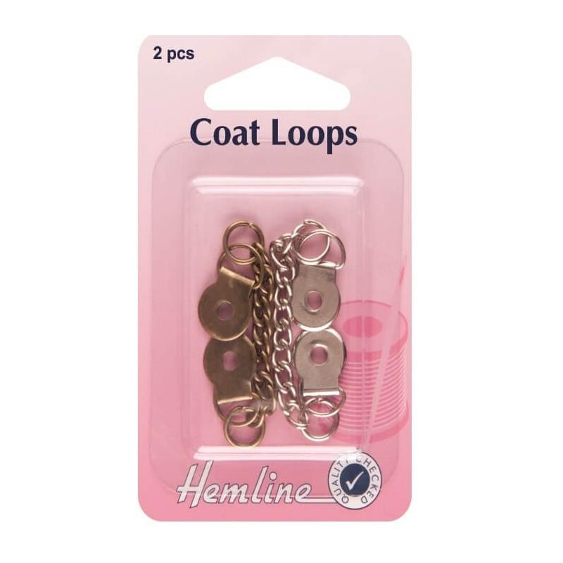 Hemline Metal Coat Loops Bronze And Silver 2 Pack