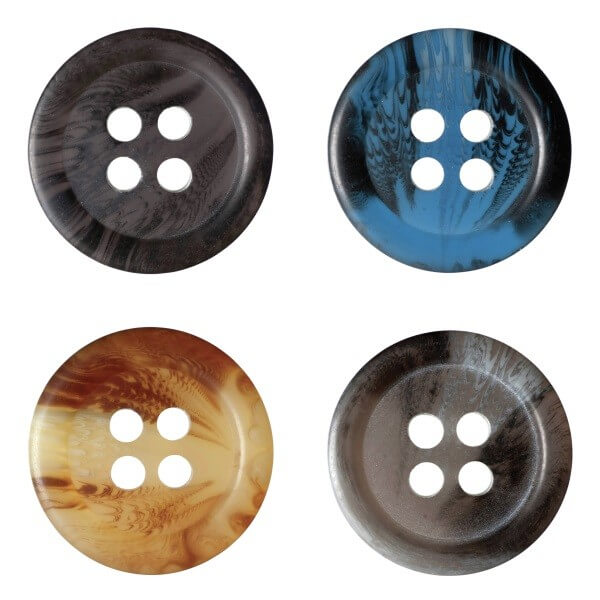 Pack of 10 Hemline Wood Grain Effect Craft 4 Hole Sew Through Buttons 15mm