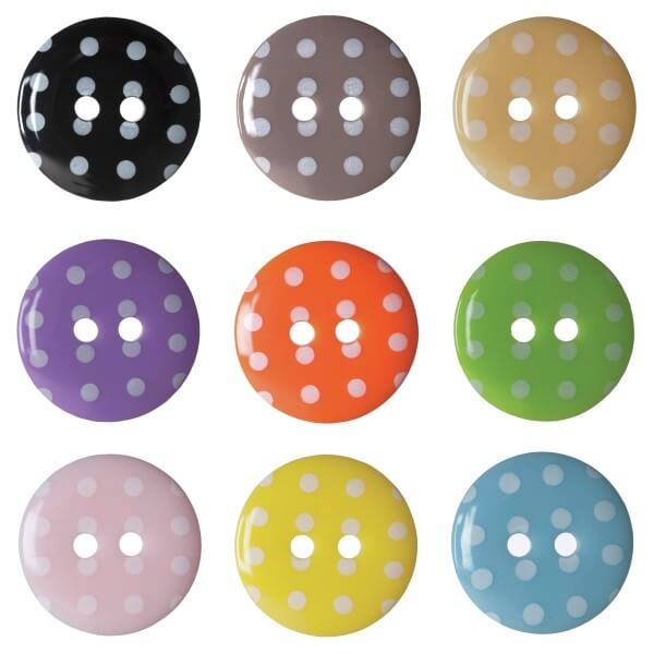 Pack of 6 Hemline Spotty Dotty Craft 2 Hole Sew Through Buttons 15mm