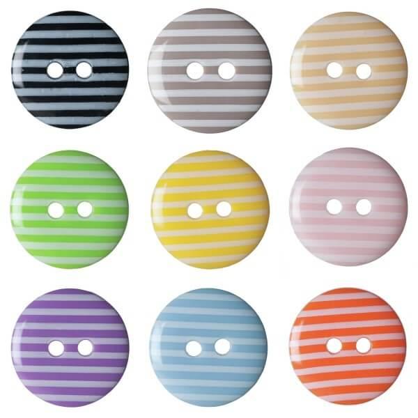 Pack of 6 Hemline Stripy Craft 2 Hole Sew Through Buttons 15mm