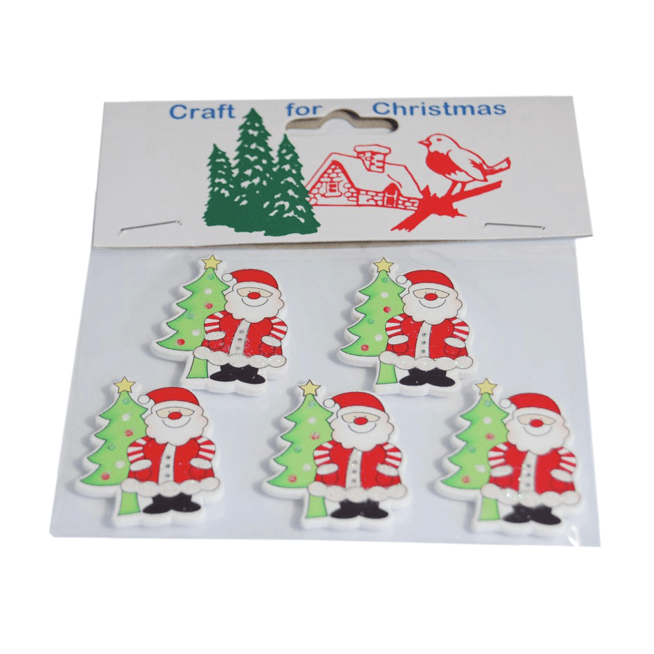 5 x Christmas Santa with Tree Embellishments Craft Cardmaking Scrapbooking