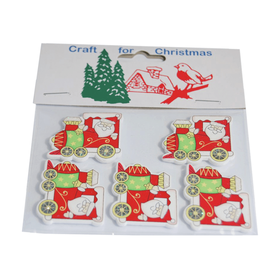 5 x Christmas Santa in Train Embellishments Craft Cardmaking Scrapbooking