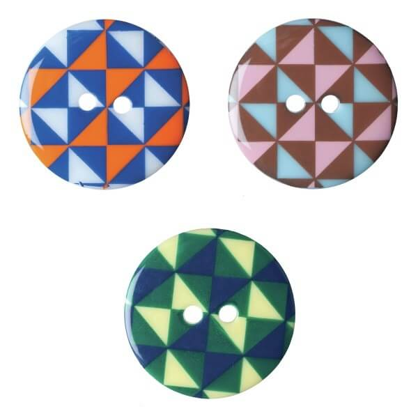 Pack of 2 Hemline Funky Geometric 2 Hole Sew Through Buttons 22.5mm