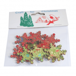 12 x Christmas Snowflakes Green Red Embellishments Craft Cardmaking Scrapbooking