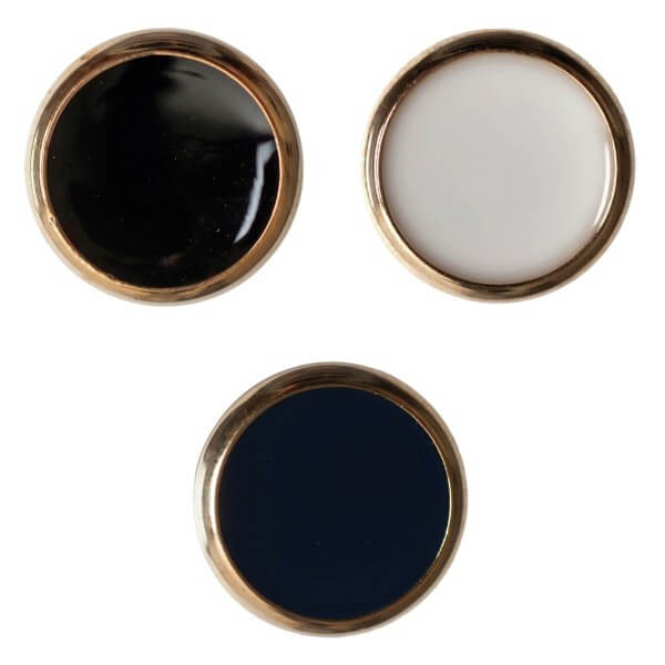 Pack of 3 Hemline Domed Gold Edged Shank Back Buttons 17.5mm